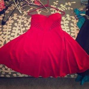 Red cut out Charlotte Russe strapless dress